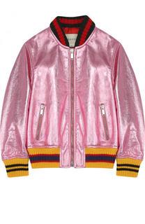 Куртка-бомбер из металлизированной кожи Gucci