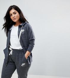 Худи серого цвета на молнии Nike Plus - Серый