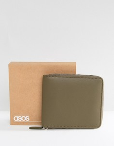 Большой кожаный кошелек цвета хаки на молнии ASOS - Зеленый