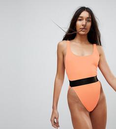 Слитный купальник с эластичным поясом и высоким вырезом по бедру ASOS TALL - Оранжевый