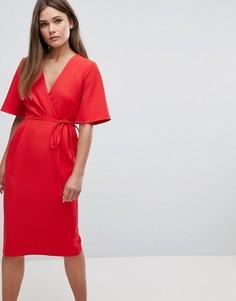 Платье миди с запахом на лифе и завязкой на поясе ASOS - Красный
