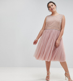 Декорированное платье с юбкой из тюля Lovedrobe Luxe - Розовый