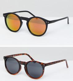2 пары солнцезащитных очков в черной/черепаховой оправе ASOS - СКИДКА - Черный