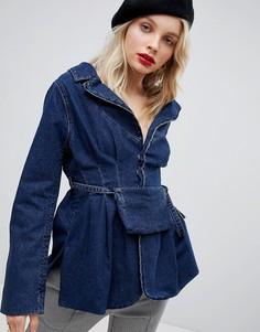 Джинсовая приталенная куртка с сумкой ASOS DESIGN - Синий