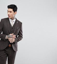 Приталенный пиджак из твида Харрис с узором в елочку Heart & Dagger - Коричневый