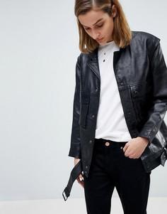 Кожаная куртка Moss Copenhagen - Черный