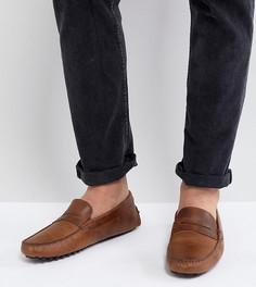 Коричневые кожаные мокасины для широкой стопы ASOS - Коричневый