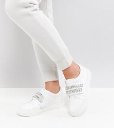 Декорированные кроссовки для широкой стопы ASOS DARLA - Белый