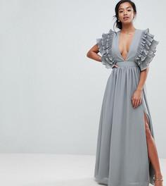 Платье макси с глубоким вырезом и отделкой на плечах True Decadence Petite Premium - Серый