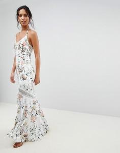 Платье макси с кружевными вставками и цветочным принтом Hope & Ivy - Мульти