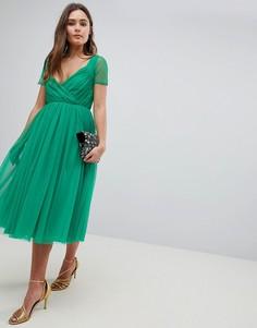 Платье миди с полупрозрачными рукавами ASOS - Зеленый