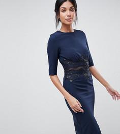 Платье-футляр с сетчатой вставкой и пайетками Little Mistress Tall - Темно-синий