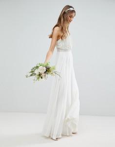 Платье макси с отделкой искусственным жемчугом ASOS EDITION Wedding - Белый