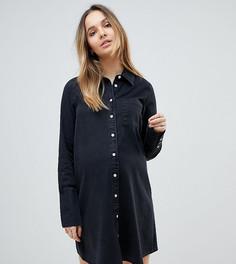 Черное выбеленное джинсовое платье-рубашка с длинными манжетами ASOS MATERNITY - Черный