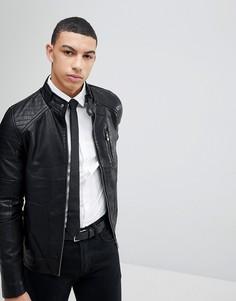 Куртка из искусственной кожи на молнии Soul Star - Черный