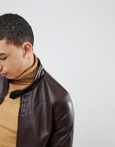 Куртка из искусственной кожи на молнии Soul Star Punched - Коричневый