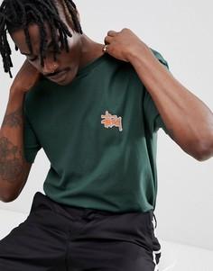 Зеленая футболка с шахматным принтом на спине Stussy - Зеленый