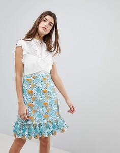 Кружевное платье мини с оборками Three Floor - Белый