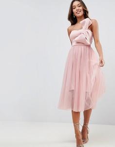 Платье миди из тюля с бантом ASOS PREMIUM - Розовый
