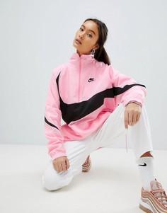 Розовая спортивная куртка с короткой молнией и крупным логотипом-галочкой Nike Vaporwave - Розовый