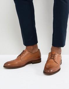 Кожаные броги на шнуровке коньячного цвета Zign - Коричневый