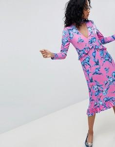 Платье миди в цветочек с воротом-чокером и оборками ASOS DESIGN - Мульти
