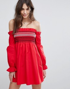 Платье с пышными рукавами Fashion Union - Красный