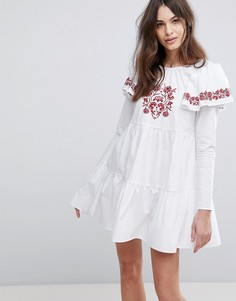 Свободное платье с вышивкой Fashion Union - Белый