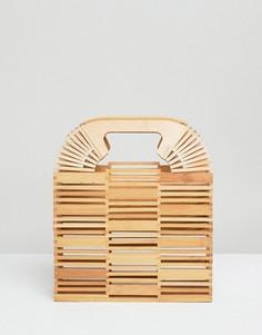 Квадратный клатч из бамбука ASOS DESIGN - Светло-бежевый
