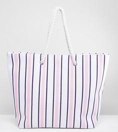 Сине-розовая пляжная сумка в полоску South Beach - Мульти
