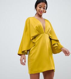 Атласное платье мини с глубоким вырезом и широкими рукавами ASOS DESIGN - Желтый