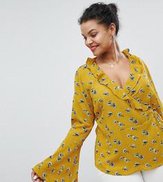 Блузка с запахом, рукавами-клеш и цветочным принтом Glamorous Curve - Желтый