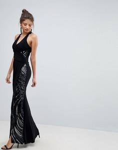 Платье макси с халтером и пайетками Lipsy - Черный