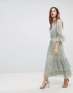 Платье макси с цветочной вышивкой и оборками Stevie May - Зеленый