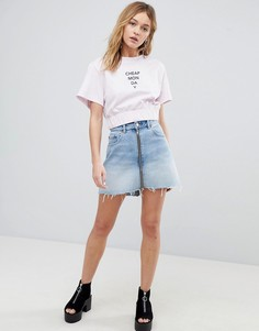 Укороченная футболка с логотипом Cheap Monday - Розовый