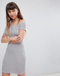 Платье мини в полоску с открытыми плечами и молнией Daisy Street - Мульти