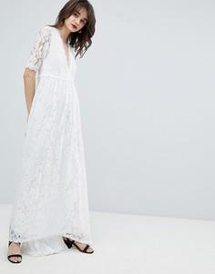 Кружевное платье макси с асимметричным краем Vero Moda - Белый