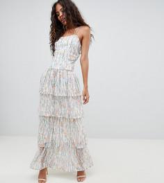 Ярусное платье макси с цветочным принтом Vero Moda Tall - Белый