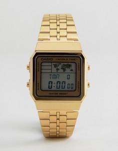 Цифровые часы с картой Casio A500WGA-1DF - Золотой
