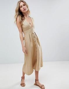 Платье миди на пуговицах Faithfull - Коричневый