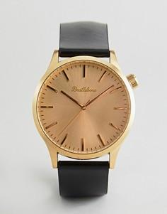 Золотистые часы с черным кожаным ремешком Bratleboro Yellowstone 44 мм - Черный