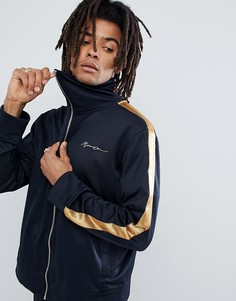 Темно-синяя спортивная куртка с золотистыми полосами по бокам Mennace - Темно-синий