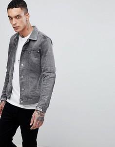 Серая джинсовая куртка с вельветовым воротником AllSaints - Серый