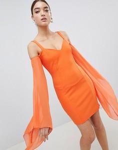 Облегающее платье из шифона Club L Angel Wing - Оранжевый