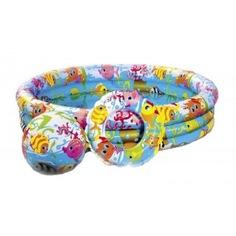 Бассейн надувной детский intex рыбки, с мячом и кругом 59469
