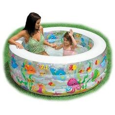 Бассейн надувной intex аквариум с надувным дном 58480