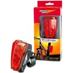Велосипедный фонарь с лазерной подсветкой, 5led+2 красных лазера, 2xaaa яркий луч v-052 4606400615774
