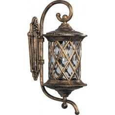 Садово-парковый светильник, круглый на стену вверх 100w 230v e27, черное золото feron pl5031 11513