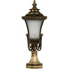 Садово-парковый светильник, четырехгранный на постамент 60w e27 230v, черное золото feron pl4023 11405