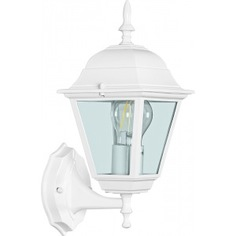Садово-парковый светильник, четырехгранный на стену вверх 100w e27 230v, белый feron 4201 11023